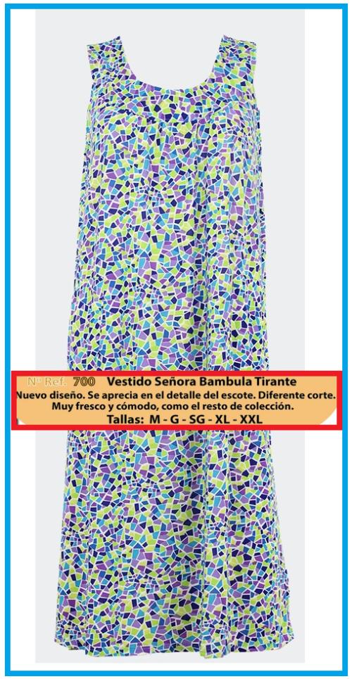 VESTIDO SEÑORA DE TIRANTES DE BAMBULA MODELO 700