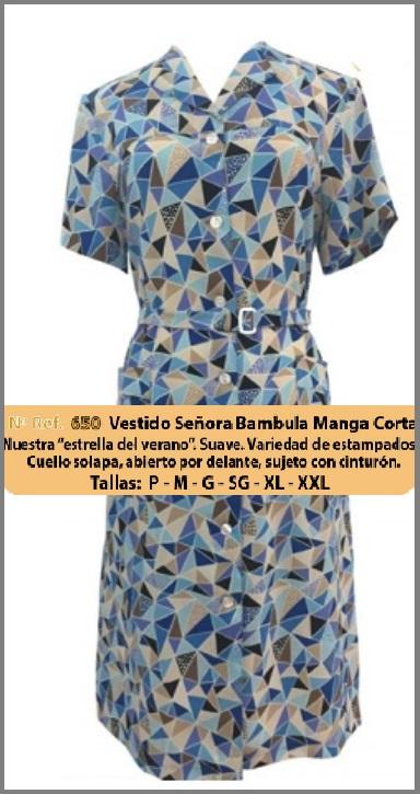 VESTIDO MANGA CORTA BAMBULA MODELO 650