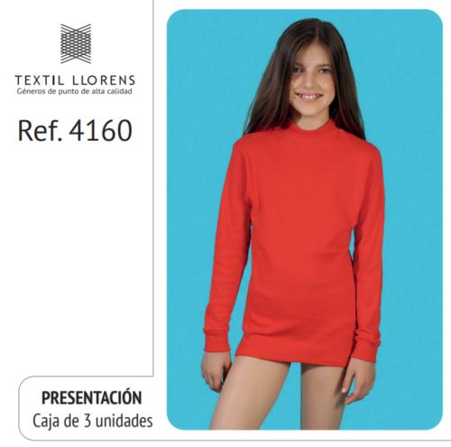 CAMISETA ALGODON AFELPADO MANGA LARGA CUELLO SEMICISNE REF 4160