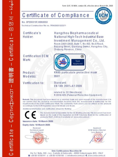 MASCARILLA HOMOLOGADA KN95 FFP2