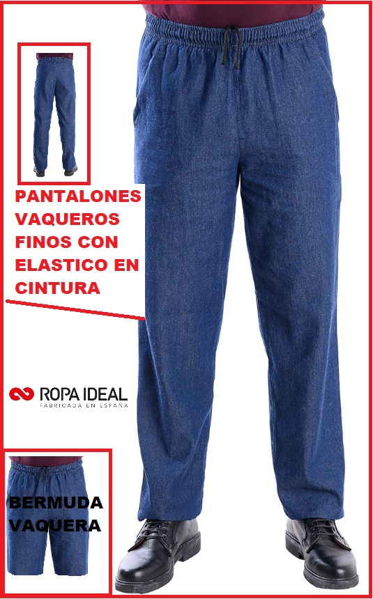 PANTALONES VAQUEROS FINOS CON ELASTICO EN CINTURA